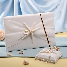 sjöstjärnor & Sea Shell Beach tema bröllop gästbok och penna set – USD $ 24.99