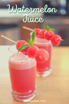 Watermelon juice coolers are so refreshing. Cool, sweet, and perfect for a hot summer day. Plus, they're really easy to make. I have a few tips for you below on how to remove the seeds and pulp, and a few suggestions on what to add to create a little variety to your watermelon juice coolers or turn them into a cocktail. | thetravelbite.com | #Watermelon #Juice #Cocktails #Mocktails Watermelon Cooler, Watermelon Recipes, Refreshing Summer Cocktails, Vodka Shots, Bamboo Skewers, Sports Drink, Frozen Drinks, Dessert Drinks, Fruit Juice