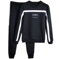 5f652bc31f6 Men 2018 Tracksuit Set Solid Sweat Suit Men Coat+Pants Sports Suit