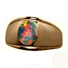 """<p style=""""text-align: justify;""""> Men's Opal Ring with a rare and desirable Red on Black Opal. Set in a wide 14k Gold Band, this one only Black Opal Ring is available in your Ring Size and Gold Color.</p>"""