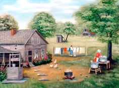 The way it was Country Memories old house flowers by jagartist, $35.95