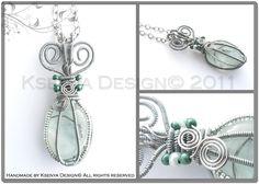 Glass stone + inox wire + glass beads + long chain (60 cm)  Size: 7 x 3 cm