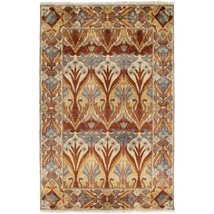 Hand-Knotted Penrith Border Indoor Wool Rug (8' x 11') (Rust-(8' x 11')), Red, Size 8' x 11'