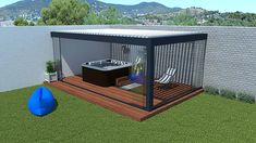 The bioclimatic pergola is an ideal solution to open a Jacuzzi. It protects the spa Deco Spa, Tub Enclosures, Hot Tub Cover, Jacuzzi Outdoor, Getaway Cabins, Pergola Designs, Planter Boxes, Deck, Backyard