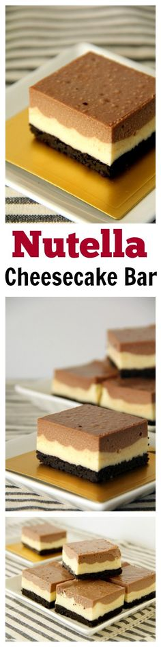 Nutella Cheesecake Bar with Oreo Base. To-die-for and the most AMAZING cheesecake bar ever! Get the recipe atNutella Cheesecake Bar with Oreo Base. To-die-for and the most AMAZING cheesecake bar ever! Get the recipe at Easy Delicious Recipes, Sweet Recipes, Delicious Desserts, Yummy Food, Yummy Eats, Nutella Cheesecake, Cheesecake Bars, Nutella Pie, Cheesecake Recipes