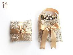 Wedding Ring Bearer Pillow, Flower Girl Basket, Fishnet Sequin Ring Pillow, Gold Ring Pillow, Boho Wedding, Gold Ribbon - Wedding table decor (*Amazon Partner-Link)