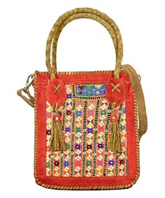 Look what I found on #zulily! Red Suede & Pink Vintage Fabric Crossbody Bag #zulilyfinds