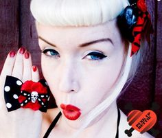 LAST ONE & ON SALE! One of our classic rings! ♥♥♥ http://punkupbettie.bigcartel.com/product/dementia-skull-rose-black-polka-dot-bow-ring-last-one