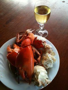 Australian mud crab and wine