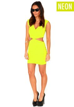 Mairin Cut Out Bandage Bodycon Dress In Acid Green, Miss G