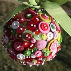 Using buttons and pins to make ornaments