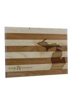 Constructed with alternating strips of cherry and maple wood, this small Pure Michigan cutting board is as beautiful as it is practical.