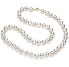 A classic 14k Yellow Gold 9-9.5mm Hand-picked and Hand-knotted Round White Japanese Akoya Cultured High Luster Pearl Necklace 18' Length AAA Quality. Secured With Lobster-claw-clasp. We Carry Differe...