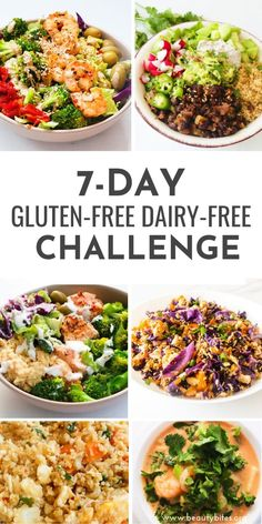 Dairy-Free Gluten-Free Meal Plan and Challenge with healthy and tasty anti-inflammatory recipes to have more energy, feel better and maybe even lose weight! The challenge includes dairy-free and gluten-free recipes for breakfast, lunch and dinner and Gluten Free Recipes For Breakfast, Clean Eating Recipes For Dinner, Clean Eating Snacks, Healthy Eating, Healthy Recipes, Dinner Healthy, Easy Recipes, Lunch Recipes, Smoothie Recipes