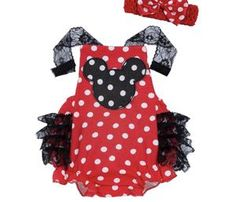Girls Minnie Mouse Romper Baby Minnie Mouse Disney Onesie Outfit Set