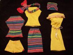 Vintage Barbie Fashion Knit Paks Lot 7 Pcs 3 Tops Shorts Skirt Dress Sash NM | eBay