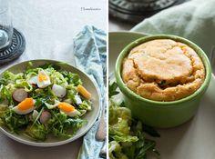 Édesburgonya szuflé tavaszi salátával | Home Bisztro Hummus, Ethnic Recipes, Food, Essen, Yemek, Meals