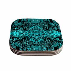 "Shirlei Patricia Muniz ""The Elephant Walk"" Teal Ethnic Coasters (Set of 4)"