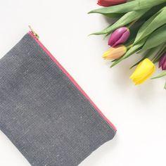 Navy Organic hemp and cotton clutch bag Plumes Lavender Pink metal zip CB011 flatlay.jpg