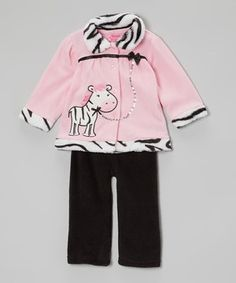 Love this Pink Zebra Jacket & Pants - Infant by Young Hearts on #zulily! #zulilyfinds