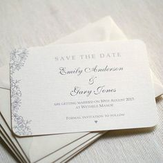 Beautiful vintage style save the date cards, with a pretty lace design. Printed on a silkweave textured ivory 280gsm card. £0.95