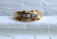 Fantastic Antique 18K Yellow Gold Rose Cut Diamond by GoldAdore