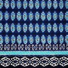96ae17b0035c Material textil bumbac Yasmin, materiale, Quilt Border, Border Print,  Moroccan Blue,