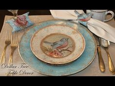 Debbie Cole demonstrates how to create Dollar Tree Decor using clear glass plates, rubber stamps, decoupage, and paints. Dollar Tree Plates, Dollar Tree Decor, Dollar Tree Crafts, Clear Glass Plates, Decoupage Glass, Tree Table, Vintage Lettering, Vintage Tea, Plate Design