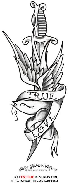 Traditional swallow and dagger tattoo design