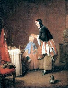 "Chardin's ""Morning Toilet"", a great picture of Catholic domesticity. It depicts a mother getting her little daughter ready, attending to her hair while the girl has her muff in her hand. And where is the girl going? To Mass. The nearby chair has a missal all ready, and the clock has the time of ten past nine. The candlestick on the little side table makes it look like a possible altar. The heart of France was Catholic and supported tradition: the Revolution when it came was alien to most."