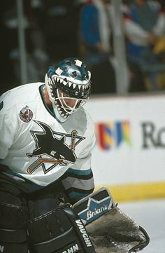 4d7939c40 Canadian ice hockey player Brian Hayward goalkeeper for the San Jose Sharks on  the ice during