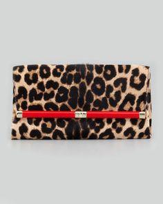 Diane von Furstenberg Leopard-Print Calf Hair Clutch Bag #DVF #NYFW