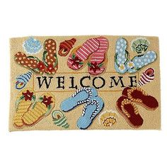 Nourison Welcome Flip Flops Rug. Would like to get this for Lisa's back door.