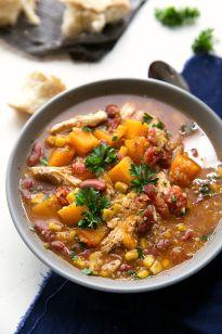 Crockpot Butternut Squash, Chicken, and Quinoa Soup recipe | Chelsea's Messy Apron
