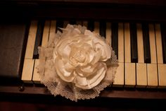 Bridal Hair Accessory: Cream, Ivory Silk Flower with Vintage Pleated Lace
