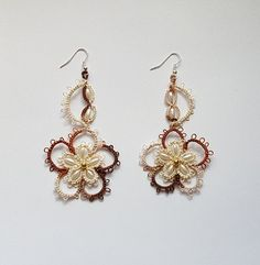 Tatting lace earrings, dangle earrings, pure cotton, two colors, beads-grain rice.