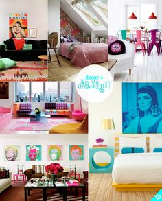 colorful pop-art inspired living spaces http://amorume.com.br/category/decor/ #popart #decor