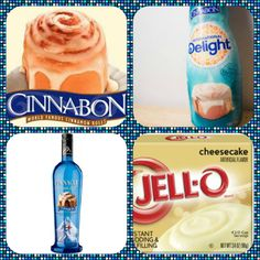 Cinnabon Pudding Shots  1 small Pkg. cheesecake instant pudding 3/4 Cup International Delight Cinnabon coffee creamer  3/4 Cup Cinnamon Roll Pinnacle Vodka 8oz tub Cool Whip Directions 1. Whisk together the coffee creamer, liquor, and instant pudding mix in a bowl until combined. 2. Add cool whip a little at a time with whisk. 3 Spoon the pudding mixture into shot glasses, disposable shot cups or 1 or 2 ounce cups with lids. Place in freezer for at least 2 hours