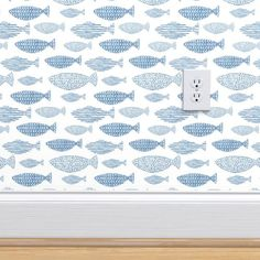 Blue fishes in watercolor custom wallpaper by tasiania for sale on Spoonflower Peel N Stick Wallpaper, Fish Wallpaper, White Wallpaper, Modern Wallpaper, Perfect Wallpaper, Wallpaper Ideas, Custom Wallpaper, Bathroom Wallpaper Beach, Coastal Wallpaper