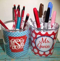 Monogrammed pencil cup Personalized pencil cup pen by MissEmPrints