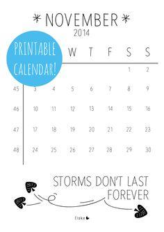 November - #printable calendar | Elske | www.elskeleenstra.nl
