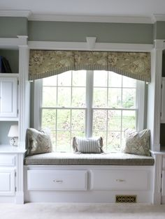 A simply shaped pleated valance adds softness and interest to this built-in cabinetry.  Interior Design by Kristine Robinson of Robinson Interiors Bay Window Benches, Window Seat Cushions, Window Seats, Room Window, Valance Window Treatments, Custom Window Treatments, Window Coverings, Window Valances, Valance Curtains