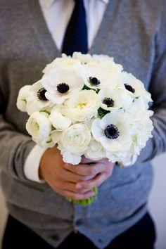 Anemones and rununculus. Super sweet engagement photo shoot, too.