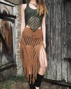 Sustainable Clothing Brands, Sustainable Fashion, Crochet Skirts, Crochet Clothes, Crochet Triangle, Fairy Clothes, Fringe Skirt, Slow Fashion, Boho Outfits