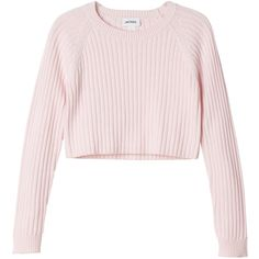 Monki Bo knitted top (520 UYU) ❤ liked on Polyvore featuring tops, sweaters, shirts, crop tops, cool raspberry souffle, pink sweater, shirt crop top, pink top and shirt sweater