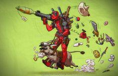Deadpool On A Donkey by ArtistAbe.deviantart.com on @deviantART