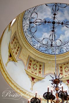 Sky ceiling and 'ironwork' is wonderful...Trompe l'oeil rotunda ceiling by Ali Kay of Positive Space