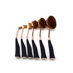 Flow Makeup Pinsel Brush Oval Set 6 Teile Rosagold Schwarz Magnet Glamour Party, Party Set, Bobby Pins, Hair Accessories, Make Up, Beauty, Pink, Brushes, Magnets