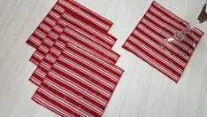 Christmas Cloth Napkins Batik Stripes Red White Cocktail Lunch 5 Inch Set of 5