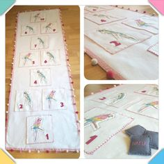 Handmade fabric hopscotch mat! Parrots fabric and cute pon pon! A great girl birthday gift game!!! by DVSparkS on Etsy